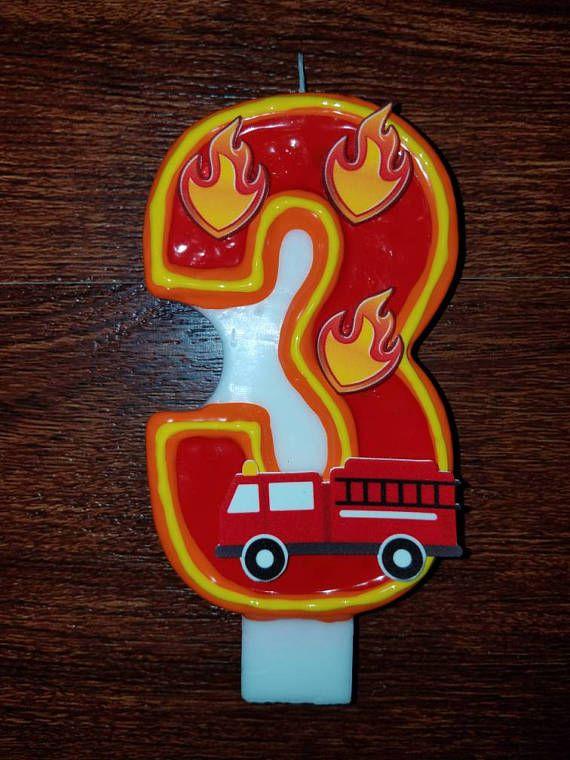 Firetruck Birthday Candle Fireman Fire Truck