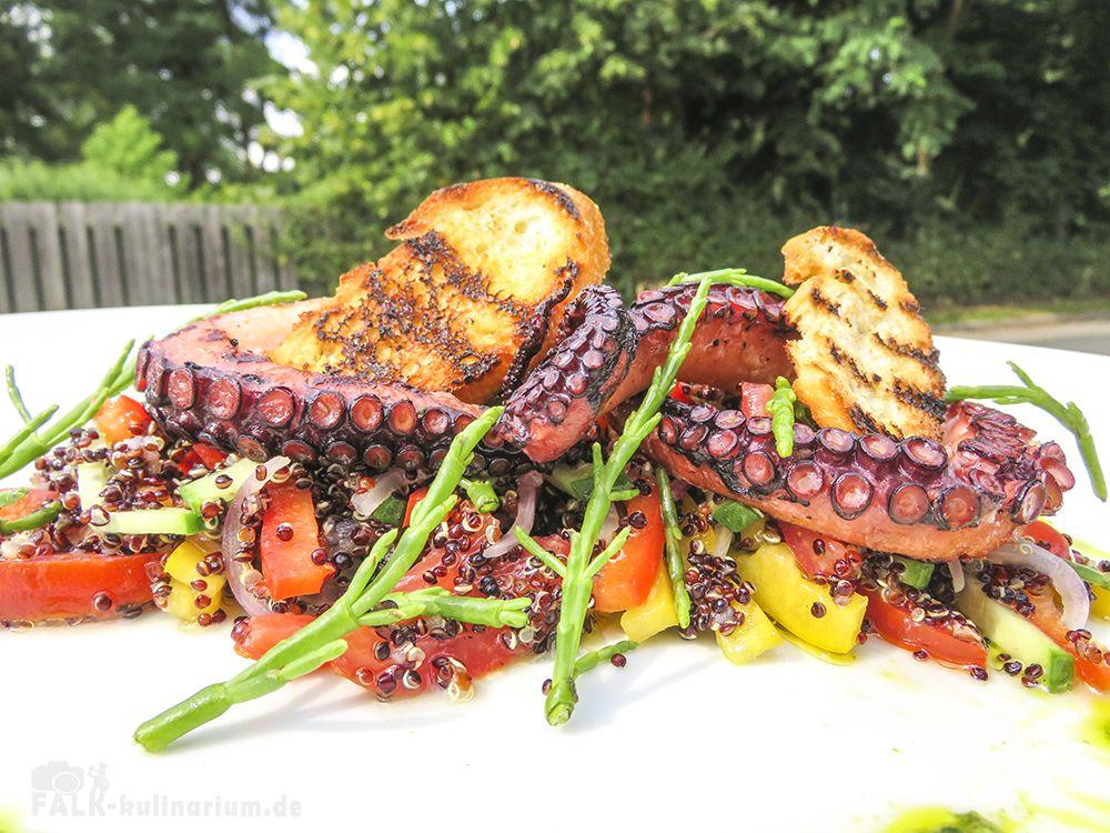 salat mit gegrilltem pulpo salicorne und quinoa leckeres essen pulpo rezepte rezepte und. Black Bedroom Furniture Sets. Home Design Ideas