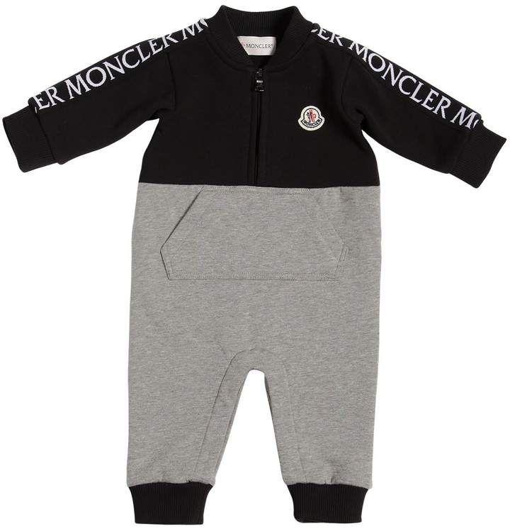 7ab234b98bb8 Moncler Grosgrain Logo Cotton Baby Boys Romper  babyboy