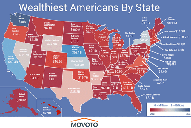 The Richest Person in Each State Maps Pinterest