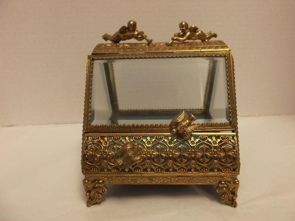Vanity Decor Gold Jewelry Casket with Cherub Jewelry Casket with Flowers Brass Jewelry Box, Cherub Jewelry Casket with Bird