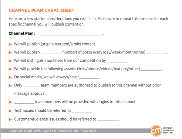 Channel Plan Cheat Sheet  BB Marketing    Content