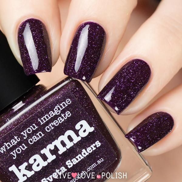 Picture Polish Karma is a vampy eggplant scattered holographic ...