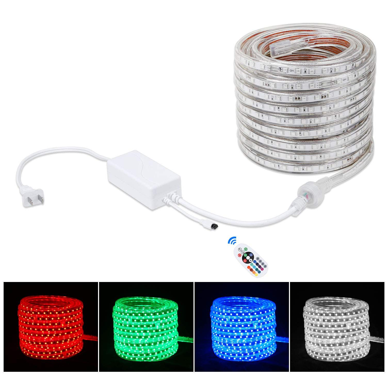 Brillihood Flexible Led Rgb Rope Light Strip Multi Color Changing Smd 5050 Leds 110 120v Ac Dimmable Waterproof Strip Lighting Led Rope Lights Rope Light