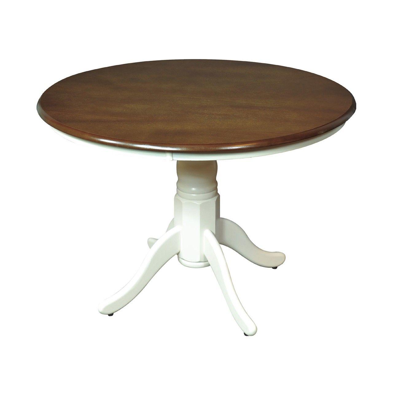 Mesa redonda de comedor con la pata blanca y base for Mesa redonda extensible blanca