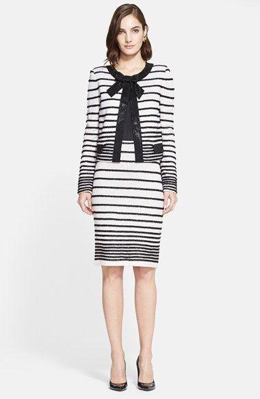 St. John Collection Eyelash Dégradé Stripe Knit Jacket with Sequin ...