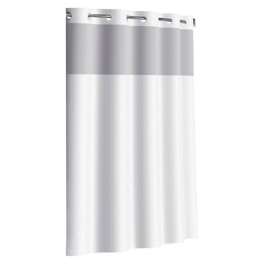 Flex On By Hookless Herringbone Shower Curtain Bright White