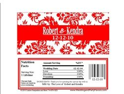 Red and White Damask Wedding candy bar wrappers