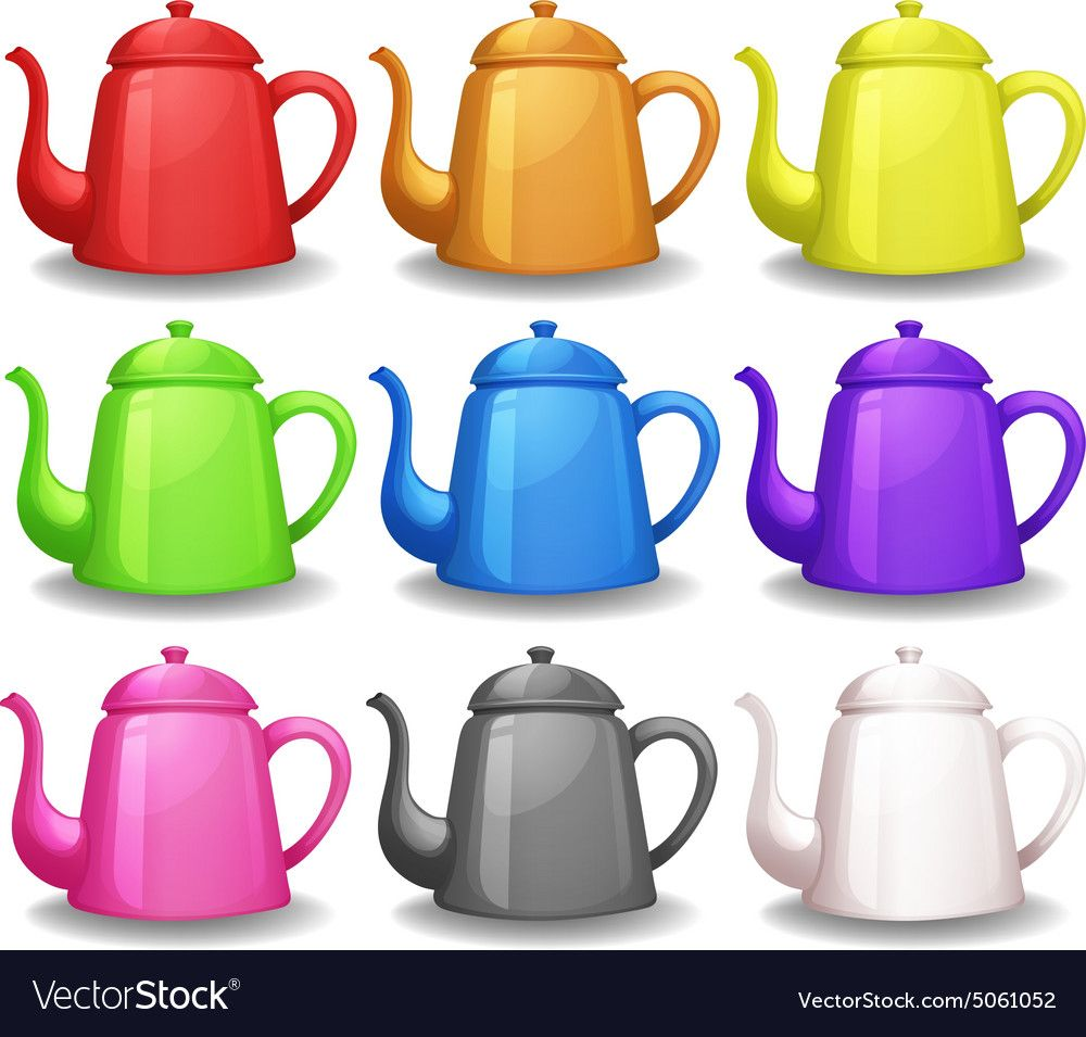 Bright Colors Teapots On A White Background Download A Free Preview Or High Quality Adobe Illustrator Ai Ep Teaching Kids Colors Tea Pots Card Games For Kids
