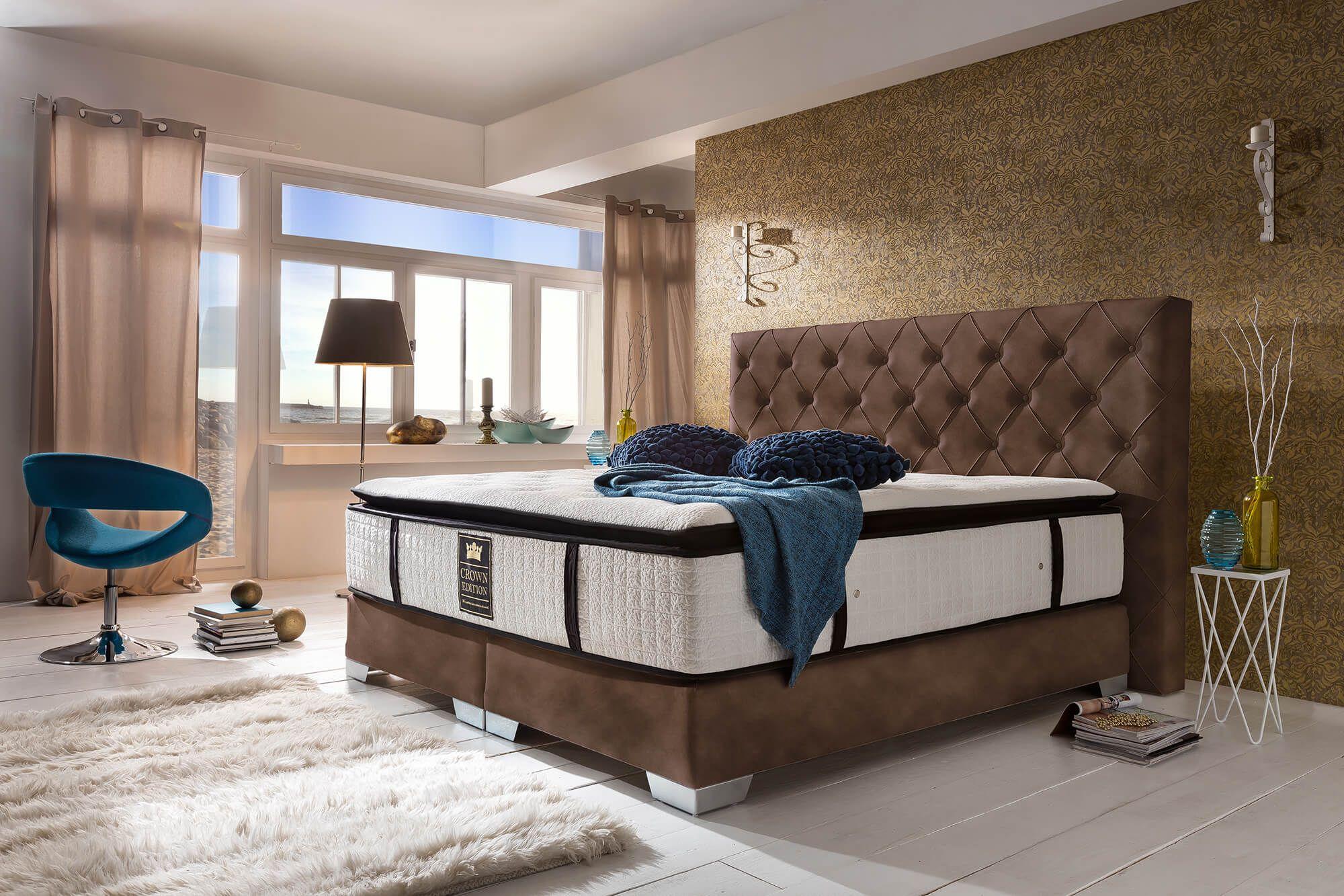 Boxspringbett Carmen Deluxe Braun Moderne Schlafzimmermobel
