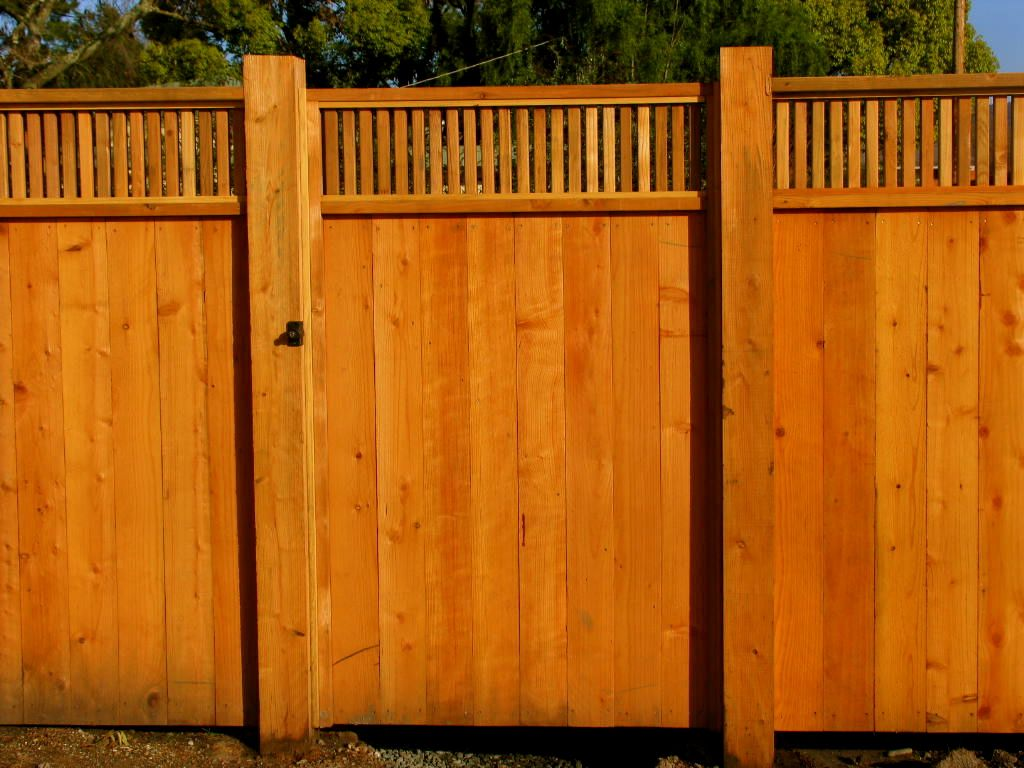 Redwood Fence With 1x2 Top Treatment By Arbor Fence Inc