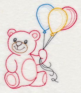 Teddy Bear With Balloon Bunch Vintage Embroidery Patterns