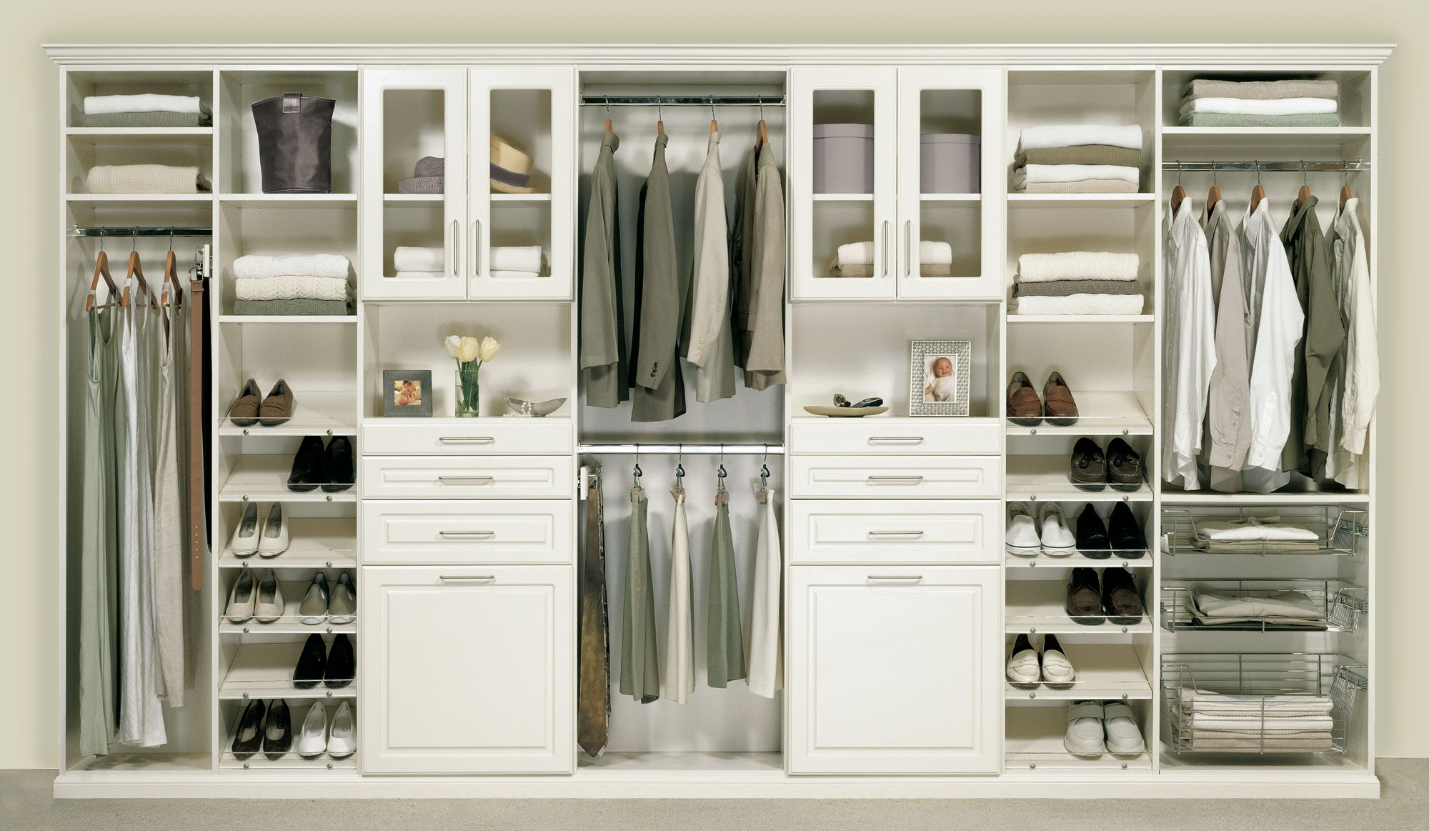 His And Hers Bedroom Closet In An Antique White finish Melamine With Deco Drawers And Doors With Gl Closet Storage Cabinets White Wardrobe Closet Closet Designs