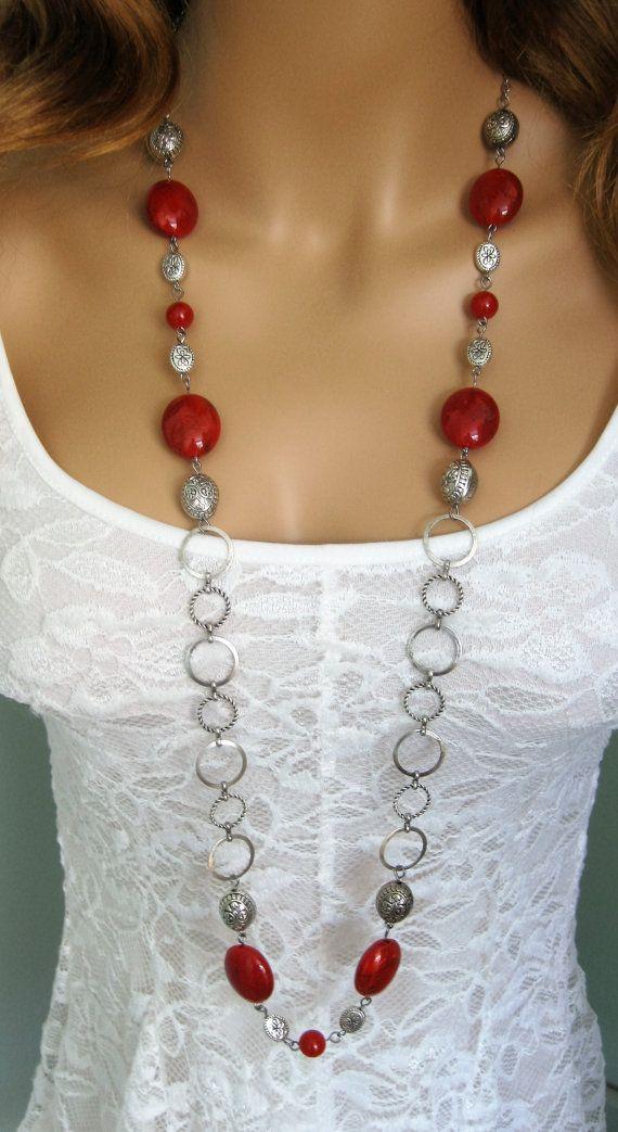 ed272988b5c4 Largo rojo collar de perlas collar rojo grueso por RalstonOriginals ...