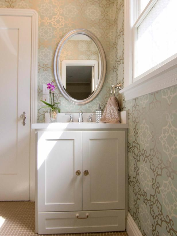 Traditional Bathrooms from Georgette Westerman on HGTV Like this lightness, and wallpaper