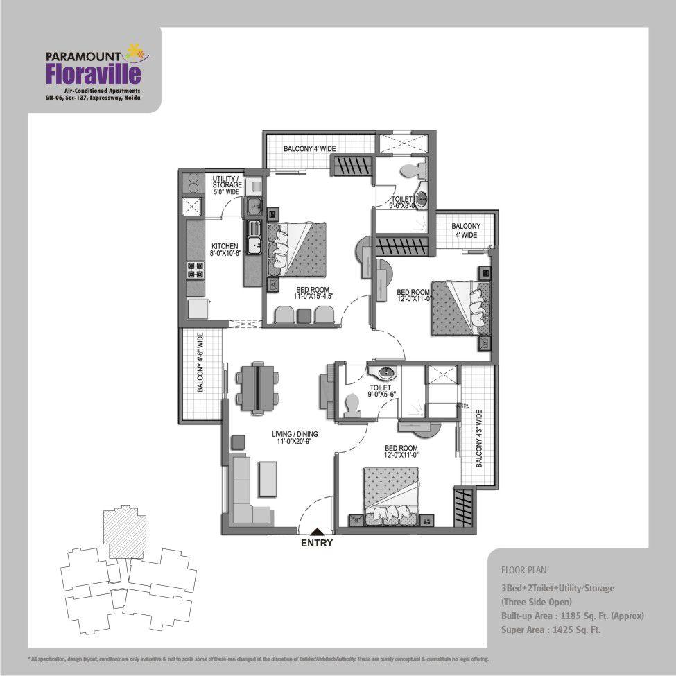 Floor Plan Paramount Floraville Sector 137 Noida Pinterest