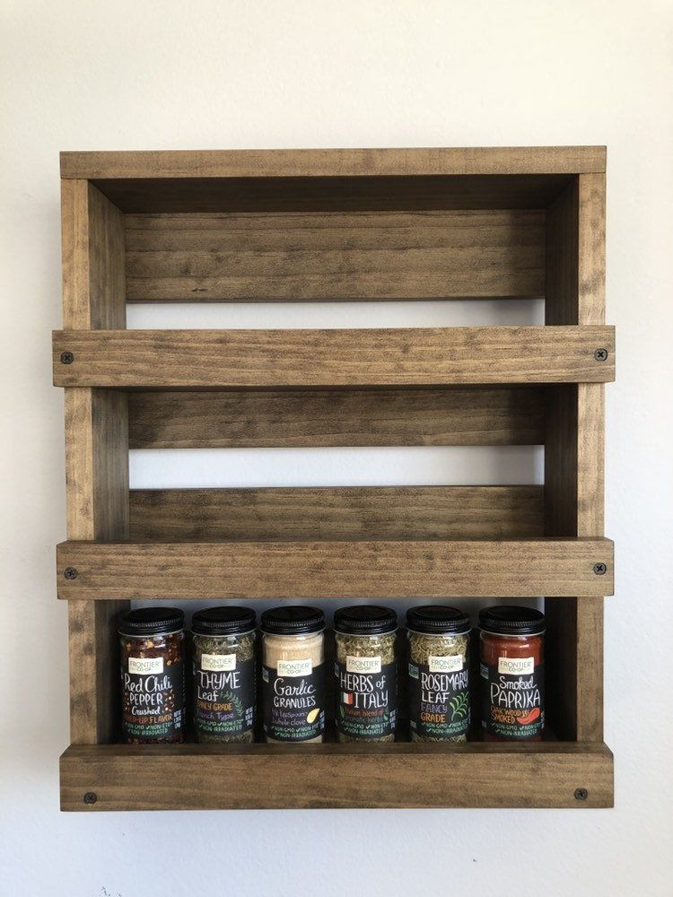 Spice Rack Wood Wall Mounted Kitchen Storage Wood Cabinet Wall