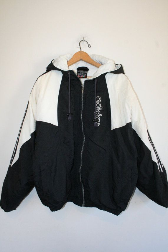 ADIDAS COAT size medium 90s puffy jacket black