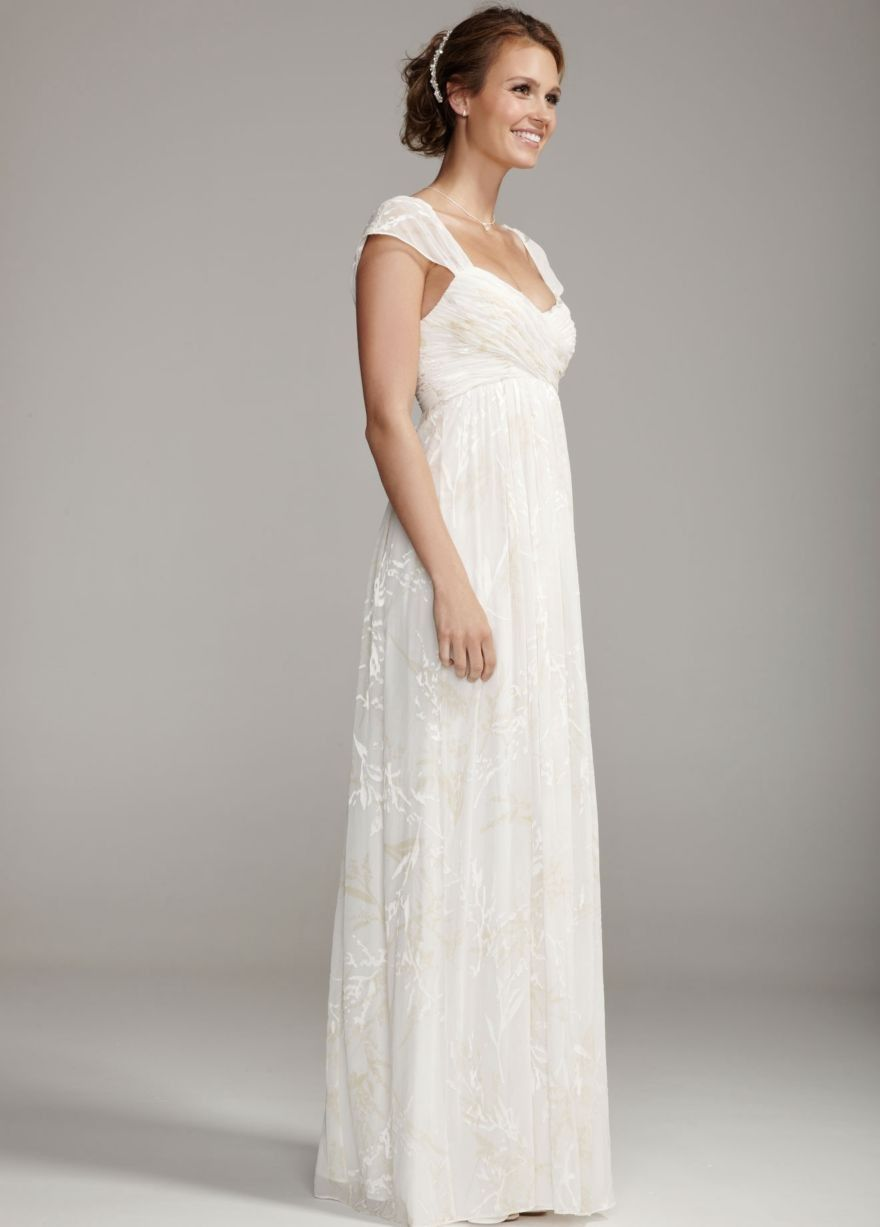 Length Ivory Wedding Dresses With Sleeves Floor Chiffon Inexpensive Simple Dress