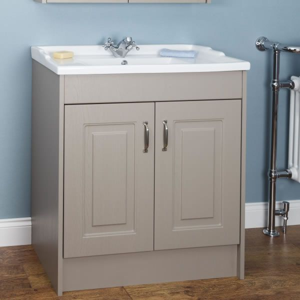 Park Lane Traditional Taupe Grey Floor Standing Vanity Unit Basin 800mm Width Traditional Bathroom Vanity Vanity Vanity Units