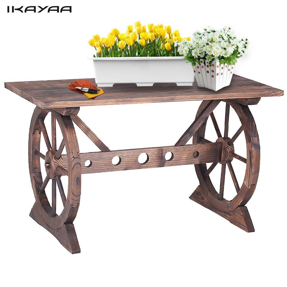 IKayaa Roue De Chariot En Bois En Plein Air Table de Rempotage ...