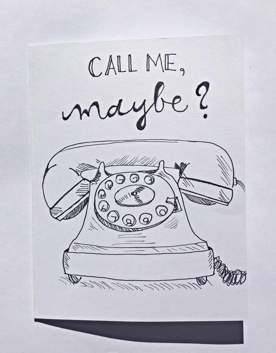 Call me maybe greeting card with rotary phone blank inside greeting card call me maybe blank card funny card friendship best friend dating card telephone rotary phone first date by claireandjamesdesign on m4hsunfo