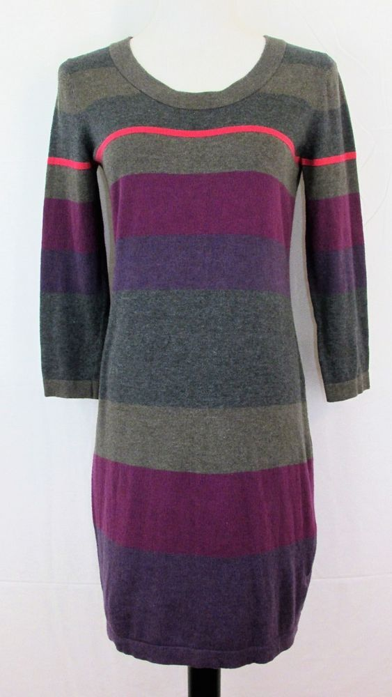 384305eabd3 Gap Junior Size Medium Sweater Dress Gray Purple Pink Stripes Soft Cotton  Blend  GAP  ShiftSweaterDress