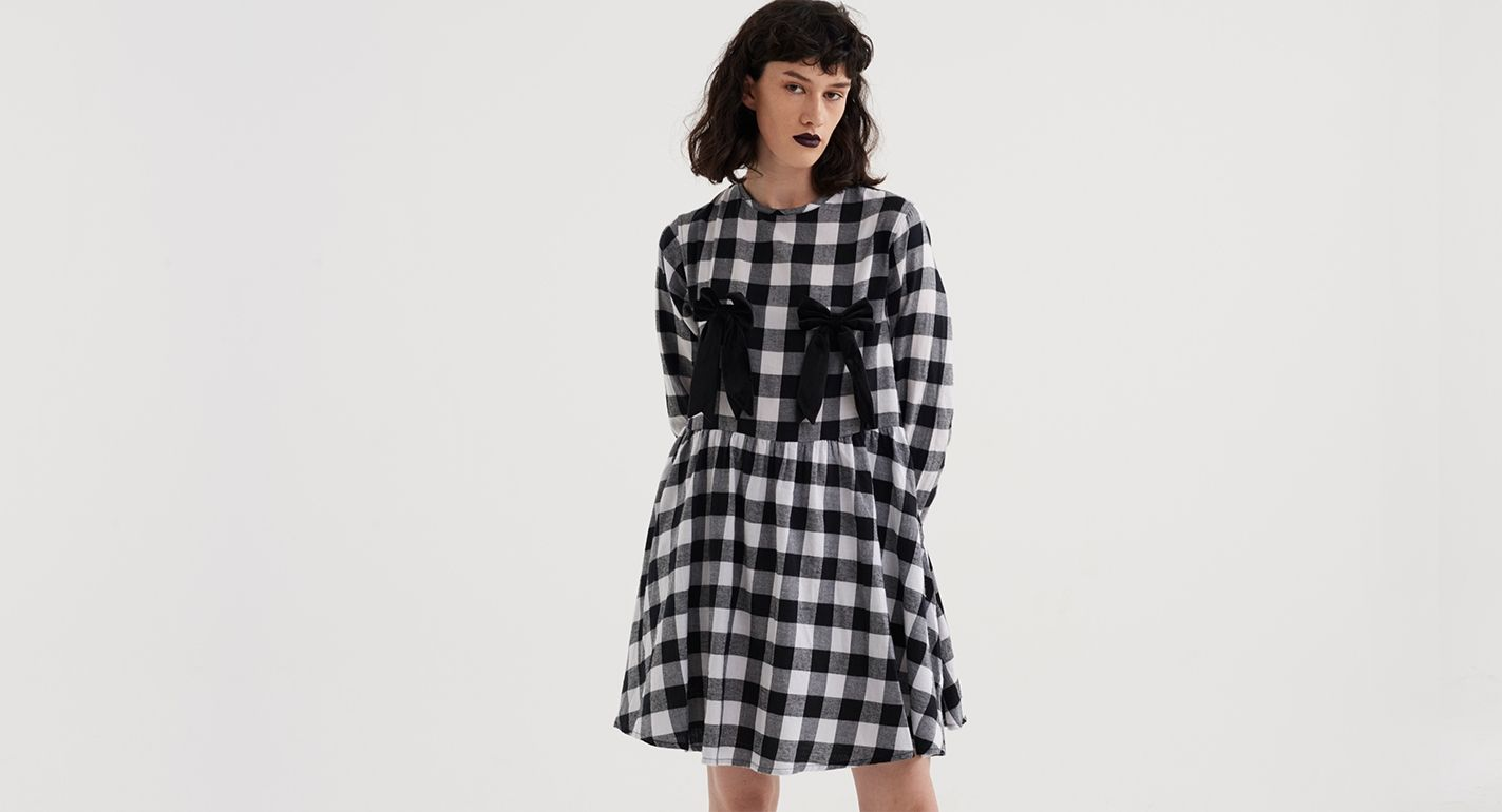 c6c9e287b89 Lazy Oaf Bow Bow Check Dress - Clothing - New In - Womens
