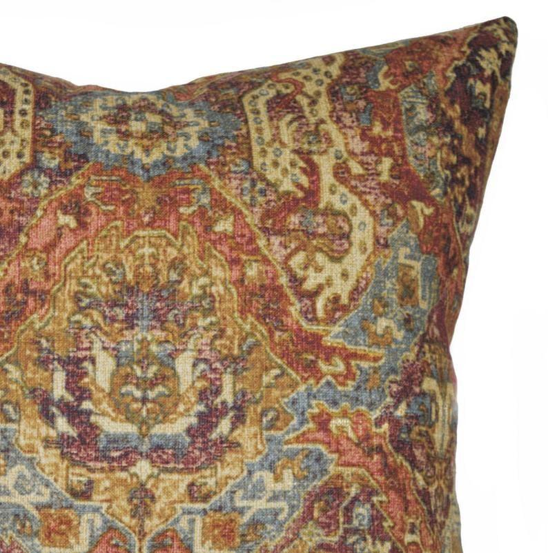 Terracotta Linen Pillow Cover / Persian Style Throw Pillow / Rust and Gold Pillow / Boho Pillow