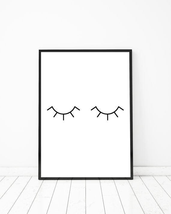 Bathroom Wall Decor Eye Lashes Baby Sleeping Sign Bathroom Wall Art Bathroom Vanity Decor Bedroom Decor Baby Nursery Art Fashion Wall Art