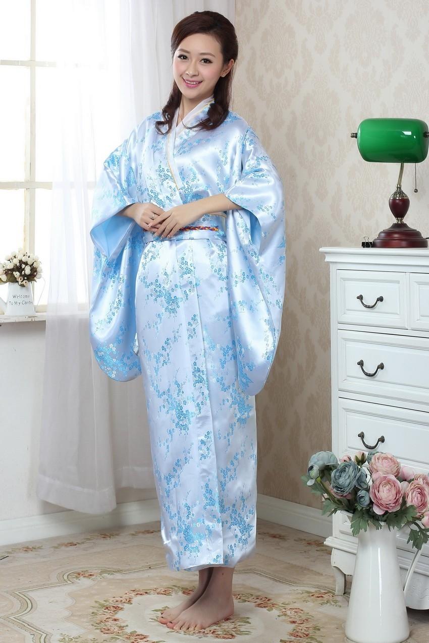 know more light blue japanese womenus silk satin kimono