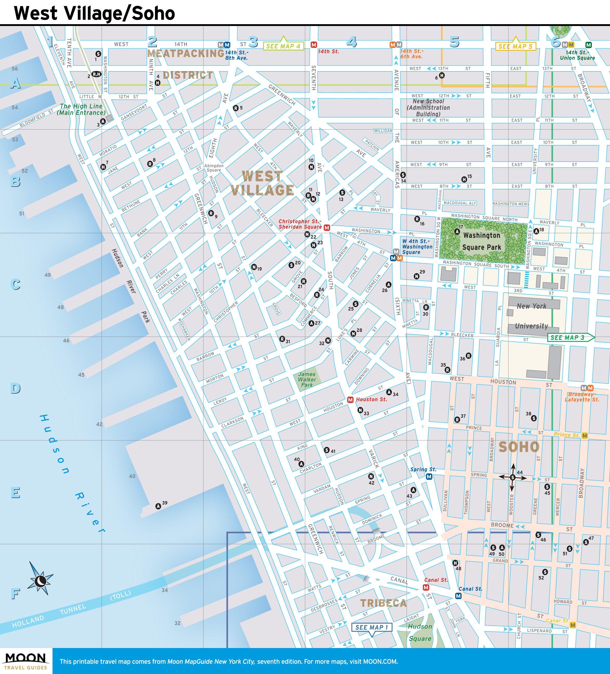 Map Of Soho New York.New York City Map West Village And Soho New York City Map West