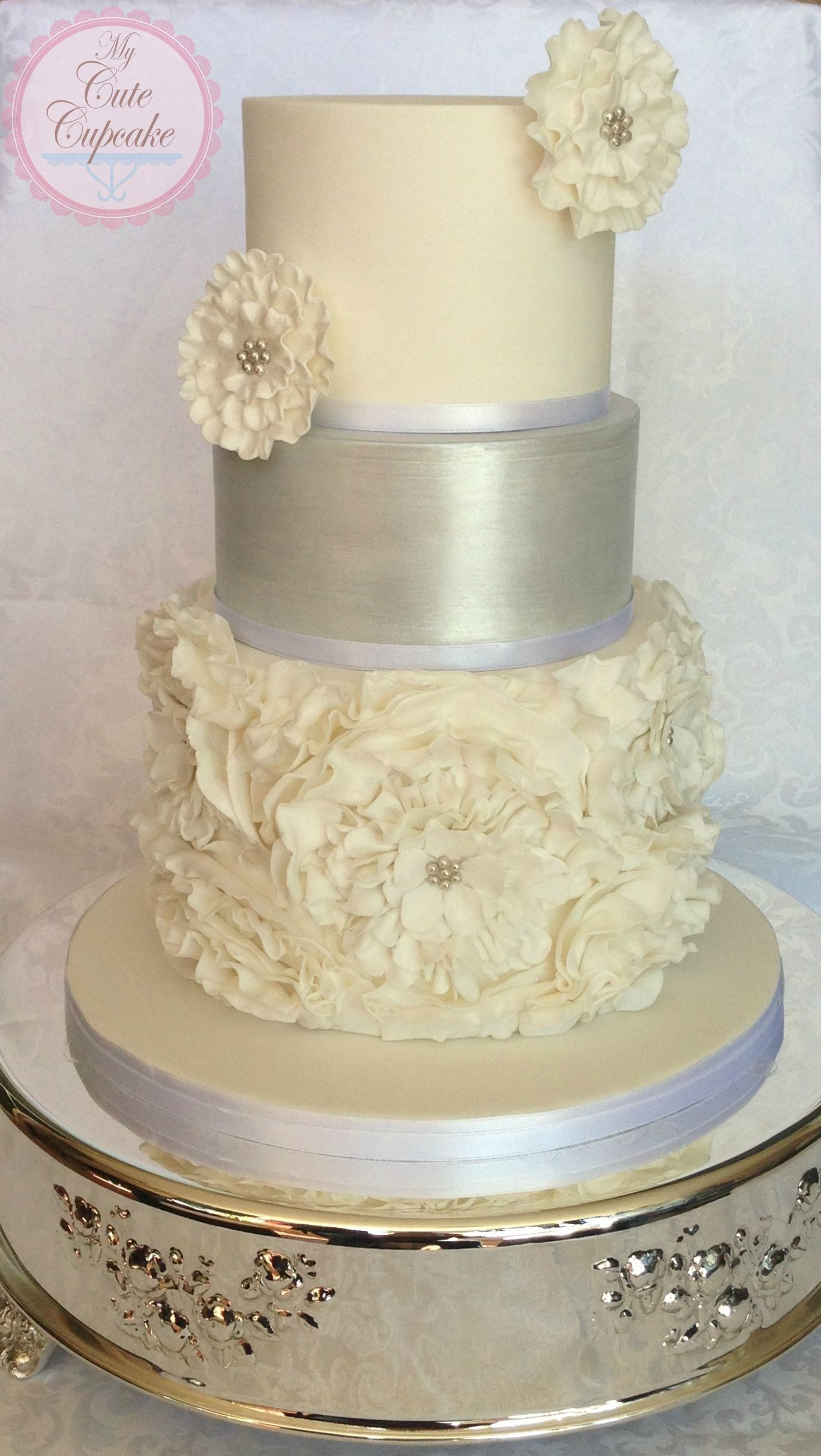 Round Wedding Cakes - White & Silver Ruffled Wedding Cake | cakes ...