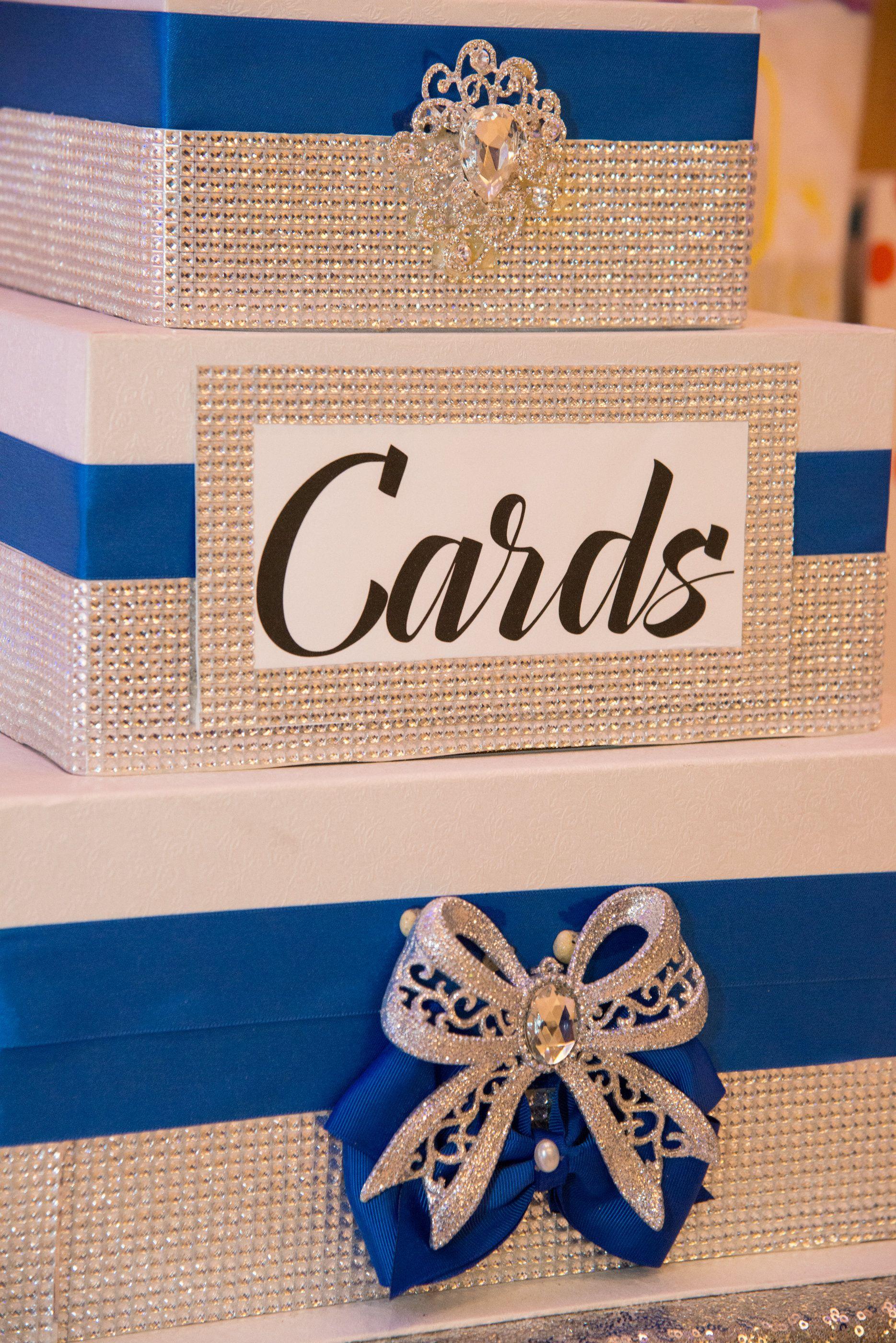 Our Royal Blue Wedding Reception Blue Diy Card Box Bow Bling