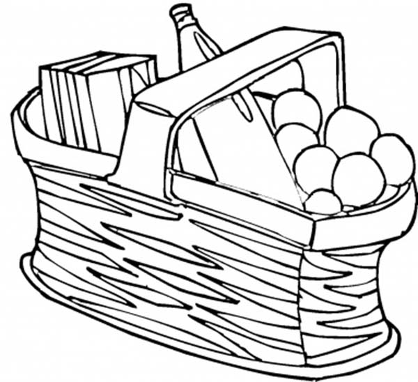 Picnic Food In The Basket Coloring Page Netart Coloring Pages Picnic Food Coloring Pictures