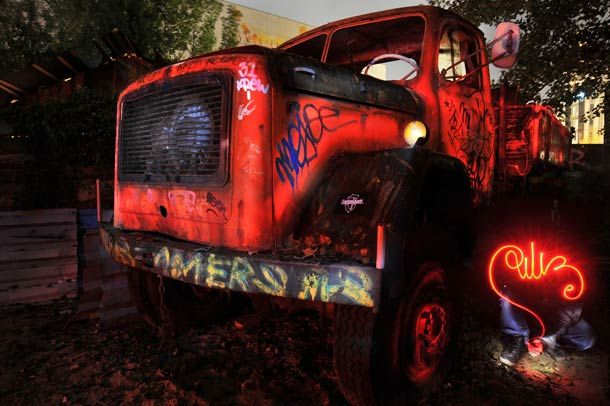 Light Painting and Abandoned Machinery by DILIZ