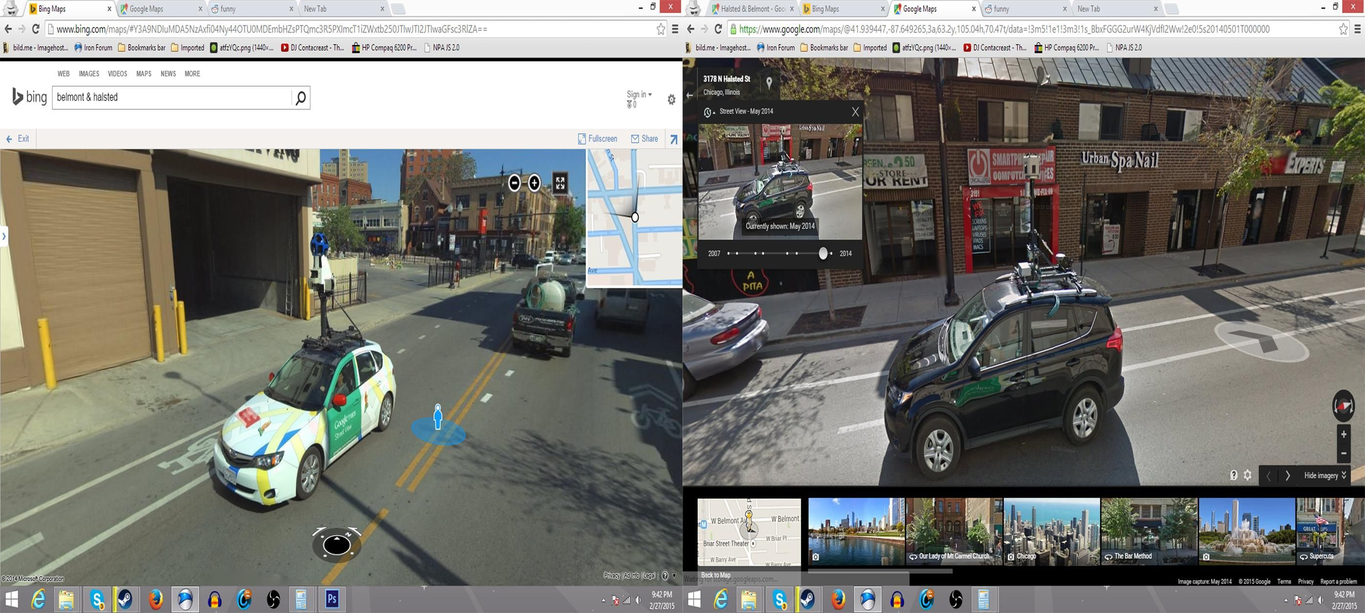 Google Street View and Bing Maps Streetside View collide