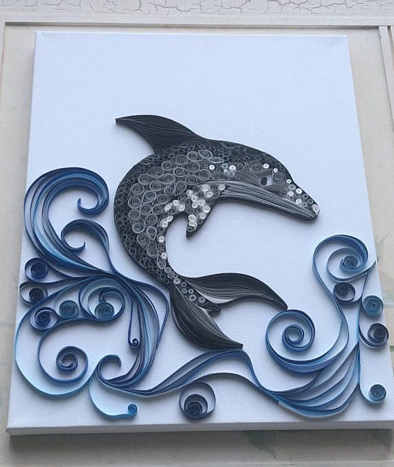 Paper Quilled Dolphin Wall Art Canvas, Wall Art, Animal
