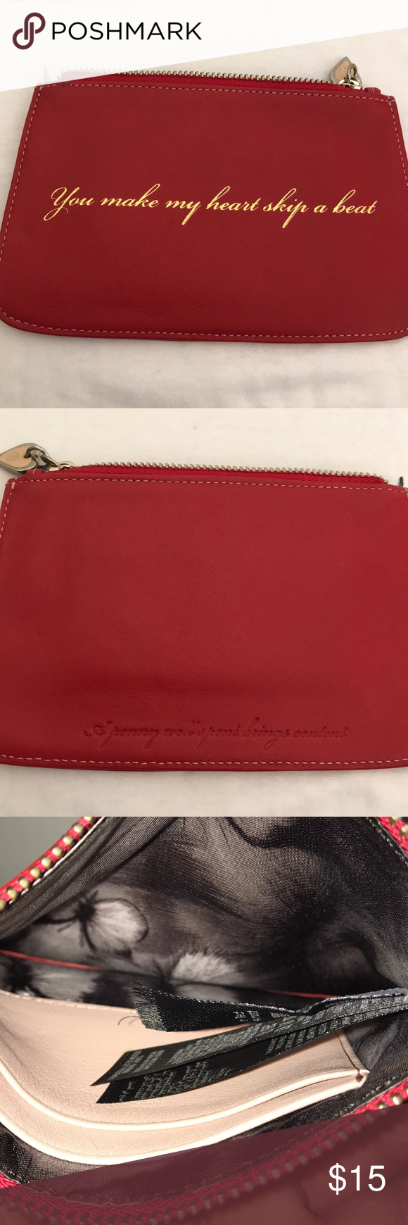 "1c029f2ea Ted Baker coin purse Red Ted Baker coin purse. Front says ""you make my"
