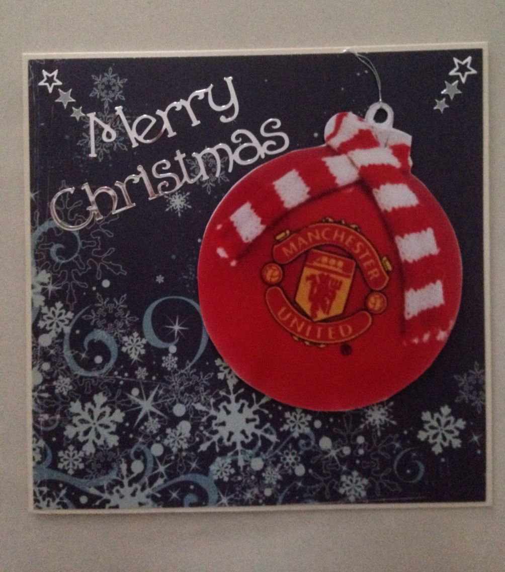 Christmas Card For A Manchester United Fan Cards Handmade Christmas Cards Cards
