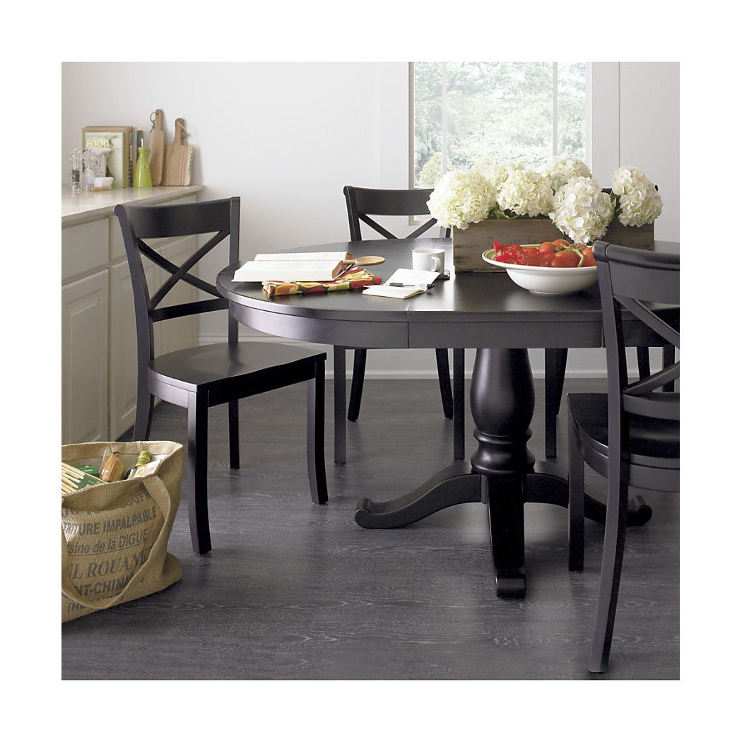 Crate And Barrel Glass Dining Table Avalon 45 Black Round Extension Dining Table Crate And Barrel