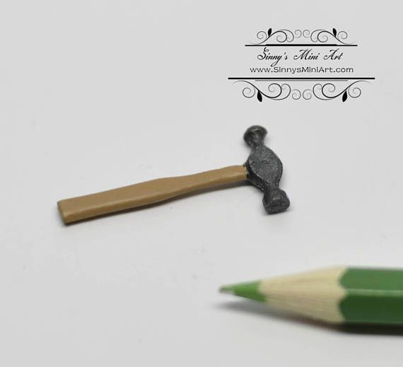 Dollhouse Miniature Hammer Ball Peen Style 1:12 Scale Tool Painted Metal