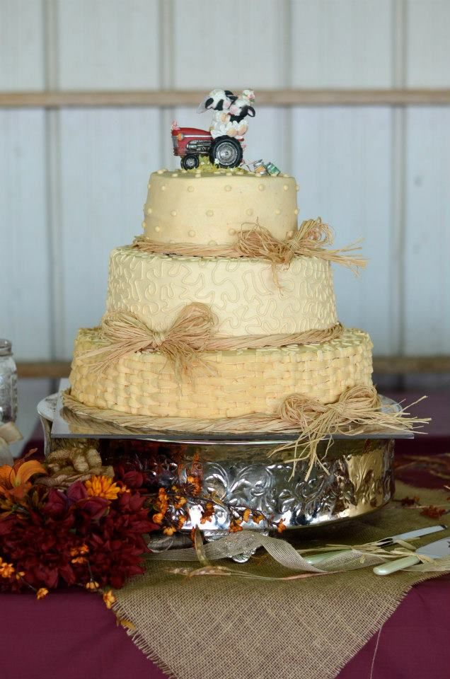 Pearl, lace, basket weave cake with mary moo cake topper | My ...