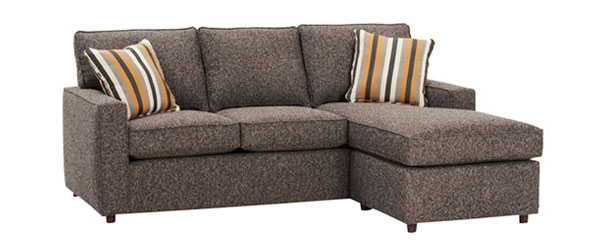 Jennifer Designer Style Apartment Size Track Arm Chaise Queen Sleeper Sectional
