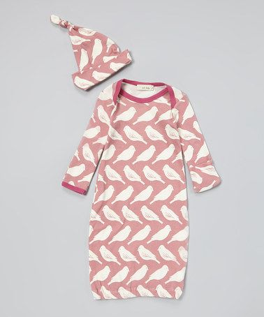 Bird Organic Gown & Single-Knot Beanie - Infant by zebi