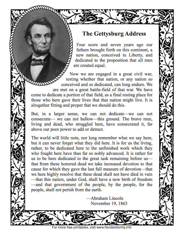 Lincolns gettysburg address another free printable from www lincolns gettysburg address another free printable from flandersfamilyfo fandeluxe Gallery