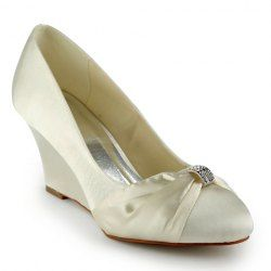 $39.80 Gorgeous Women's Wedding Shoes With Rhinestones and Wedge Heel Design
