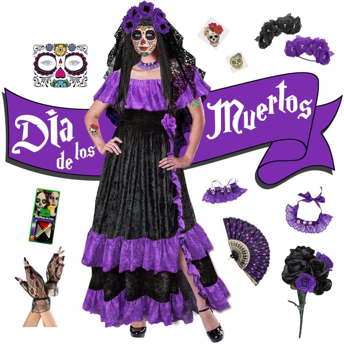 NEW! Purple Dia de los Muertos! Day of the Dead Plus Size