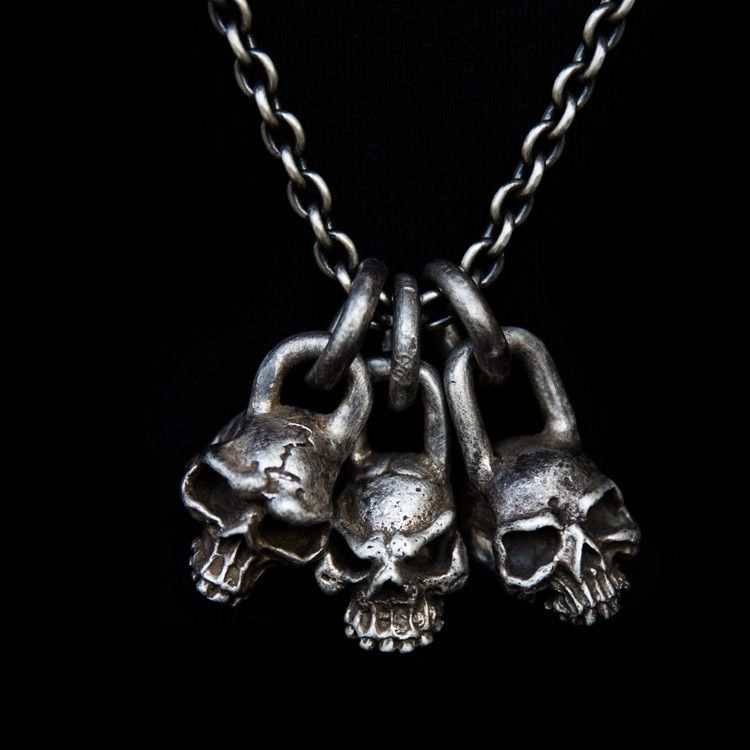 Sterling Silver Skull Pendants Three heads skull pendant silver skull necklace ssp46 skull skull pendant skull necklace handmade silver skulls sterling silver pendants necklaces third collars audiocablefo