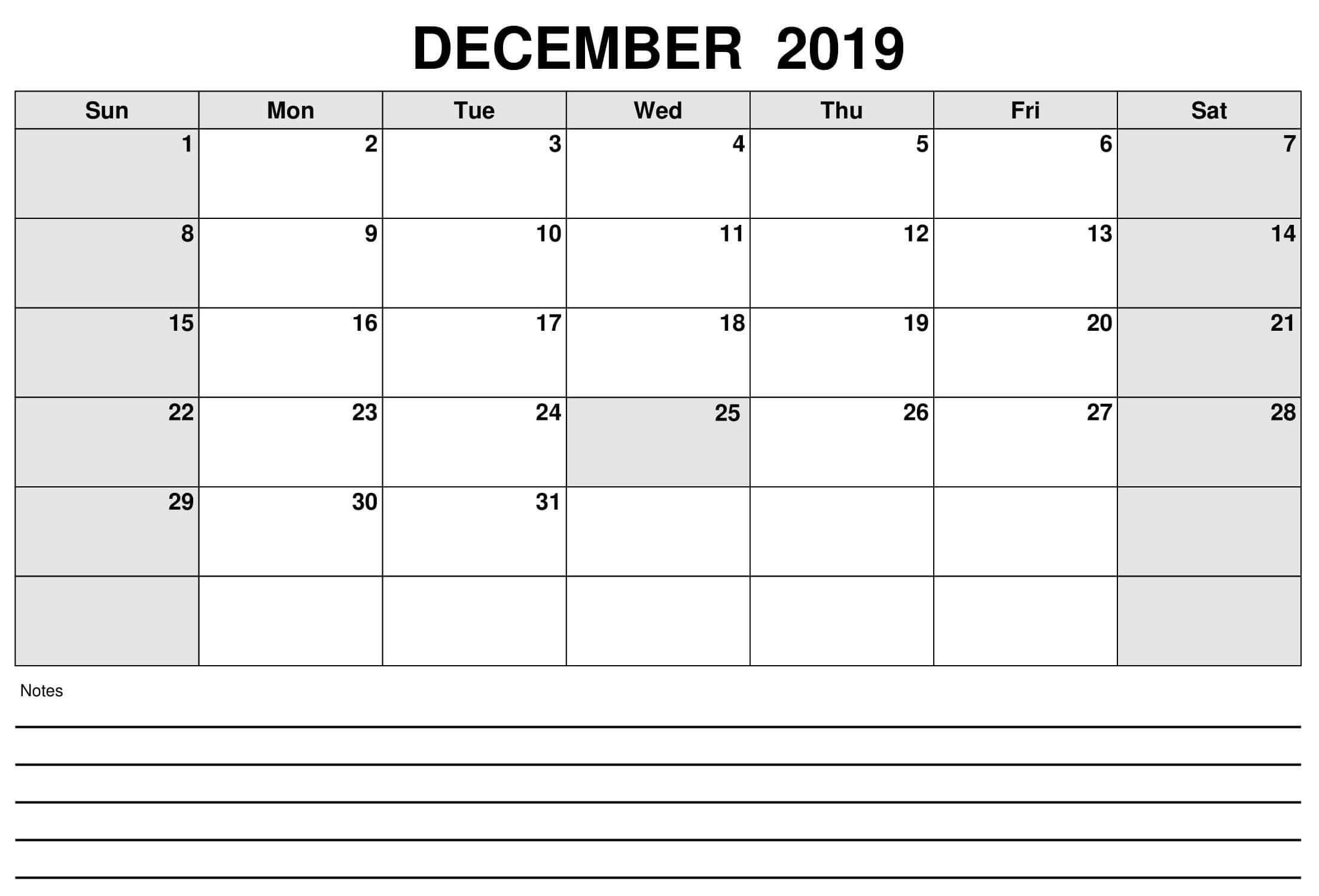 December Calendar Excel Worksheet